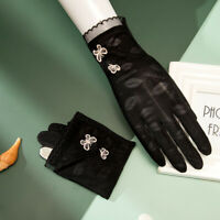 Lace Anti-UV Mittens Butterfly Embroidery Touch Screen Breathable Driving Gloves