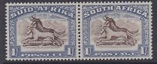 South Africa 1939 1/- brown & chalky blue MINT bilingual pair sg62