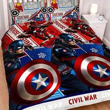NEW MARVEL CAPTAIN AMERICA IRON MAN CIVIL WAR DOUBLE DUVET QUILT COVER SET BOYS