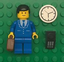 Lego Businessman Minifig: figure lot town city lawyer blue suit classic vintage