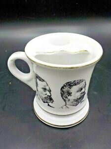 Vintage Porcelain Mustache Guard Coffee Cup 8 Oz Mug Barber Shave Grooming Style