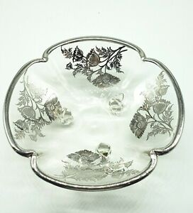 Vintage Footed Glass Bowl Candy Dish Floral Silver Overlay Scalloped Edge