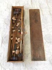 Antique LINE Wood Parlor Croquet Set In Original Wood Case Box