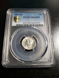 1917 D Full Bands Mercury Dime PCGS MS64FB