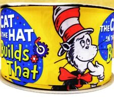 """7/8"""" 2 YARDS Cat in the Hat Grosgrain Ribbon Dr Seuss Hair Bows Gift Wrap Crafts"""