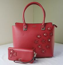 Guess Red Liya Floral Applique Tote + Zip Around Wallet