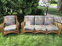 Antique Rattan Couch & Chair With Cushions