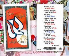 Come Holy Spirit - Breathe in me O Holy Spirit - Laminated  Holy Card