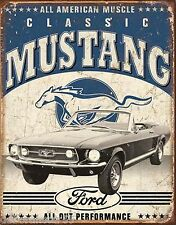 Classic Ford Mustang Muscle Car Vintage Weathered Garage Metal Tin Sign New 1813