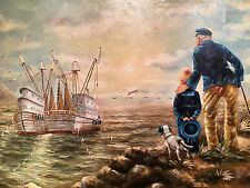 "John Jackson Awesome Original Oil Signed & Framed ""Captain & his Grandson"" Lo $$"