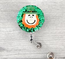 Leprechaun St Patricks Day ID Card Pass Holder YoYo Ski Retractable Badge Reel