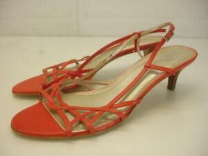 Women's 11 M Talbots Coral Orange Leather Slingback Sandal Heels Pump Shoe Spain