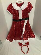 Child's Holiday Santa Sequined Dress & reindeer headband. Jo Jo's Closet. 6/6X .