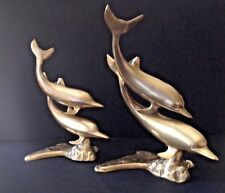 Set of 2 Vtg Solid Brass Large Swimming Pairs Dolphins Nautical Statue Sculpture