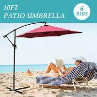 10FT Outdoor Patio Umbrella Canopy Market Shelter Tilt W/Crank Red Outdoor Park