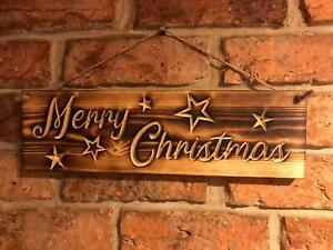 Merry Christmas Hanging burnt wood finish plaque sign