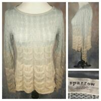 SPARROW (ANTHROPOLOGIE) Womens Blue Cream Ombre Wool Sweater Size SMALL