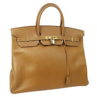 HERMES BIRKIN 40 Hand Bag Gold Ardennes Vintage GHW oX 1994 A53983
