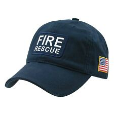 Navy Blue Fire Rescue Polo Style Raid Baseball Cap Caps Hat Hats US USA Flag