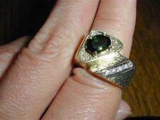 New Old Stock 14kt Tourmaline Diamond Ring 50s DECO Size 6.25,11.8 grams