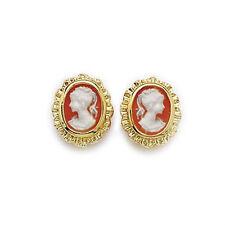 Boucles d'oreilles Camée ORANGE en plaque OR NEUF BijouterieJOLYBIJOUX