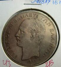 GREECE GREEK COIN  Silver Georgios A  1875  5  Draxmai     VARIETY    KM# 46