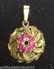 VINTAGE 14K SOLID YELLOW GOLD & RUBY SWIRL PENDANT