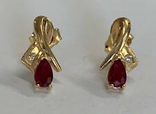 "Estate Jewelry Ruby & Diamond Drop Earrings 14K Yellow Gold 1/2"" Long"