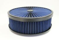 "14"" X 4"" Round Blue High Flow Thru Washable Air Cleaner Flat Base Lid SBC 350"