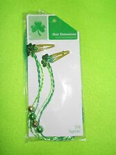 NEW ~ Green hair braids~2 pack~2 shades of green brains on a hair clip 🍀