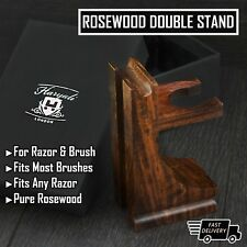 Classic Style Wood Stand for Razor and Shaving Brush, Walnut Finish