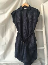 Lovely •Country Road• Navy Linen Striped Military Style Shirt Dress Sz 8 S EUC