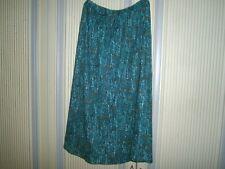 "Vintage Ladies Uk 12 Green Flared Skirt-Plain-  - 27"" long - elasticated waist"