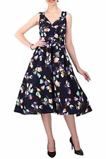 Ladies Dress 50's Prom Swing Vintage Rockabilly Party Floral Size 20 - 28 20 Navy