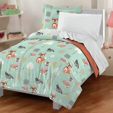 Twin Bedding Sets For Kids Girls Mint Green Woodland Owl Friends Comforter (5)