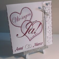 Einladungskarten zur Hochzeit weiß-bordeaux, Einladung, Einladungskarte