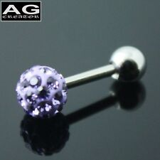A single Medium purple cubic snow ball barbell earring stud piercing 18g