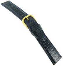 19mm deBeer Prestige Genuine Lizard Turned Edge Navy Blue Handmade Watch Band
