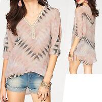 genial luftig TUNIKA Bluse TOP CHIFFON Gr.36/38 S/M rosa schwarz Strand cutouts