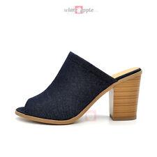 New Women Open Toe Blue Denim Sandals Slip on Backless Stacked Chunky Heel Tripp