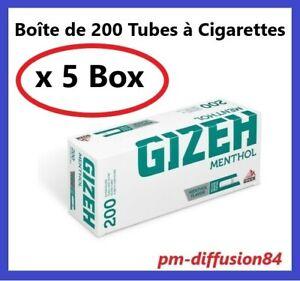 1000 TUBES Cigarettes avec Filtre GIZEH Menthol - 5 Boîtes de 200 Tubes