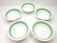 "5 VTG Emerald Isle Ironstone 60s Harmony House MCM 6"" Cereal Dessert Snack Bowls"