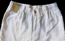 Men's CARIBBEAN White Pure LINEN Drawstring Pants 40x32 NEW NWT Cargo AWESOME!