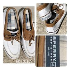 Sperry Top-Sider 2-Eye Boat Shoe 0687004 Men's US 13 M Off White Brown Two-tone