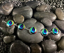 Handmade Colorful Rainbow Peacock Feather Silver Glass Gypsy Bird Charm Bracelet
