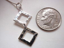 Double Hammered Squares Necklace 925 Sterling Silver Corona Sun Jewelry