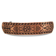 """Large 3.5"""" Copper Native American Style Engraved Metal Updo Barrette Hair Clip"""