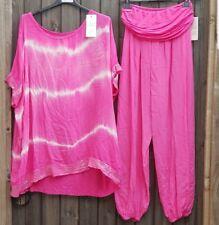 Ladies Pink Tie Dye Sequin Top & Harem Trouser Set Lagenlook Will Fit UK 10-18