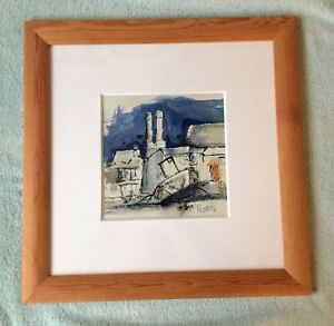 Watercolour Industrial Landscape  And Pen Painting Signed Matias