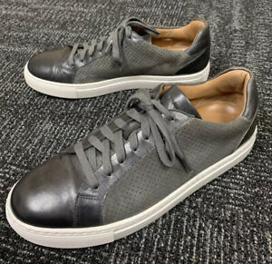 """$325 Magnanni """"Fede"""" Men's Gray Perforated Suede & Leather Fashion Sneaker US 10"""